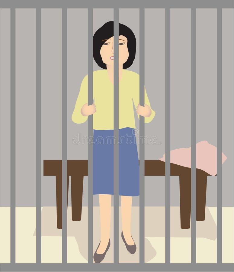 Eine Frau im Gefängnis stock abbildung