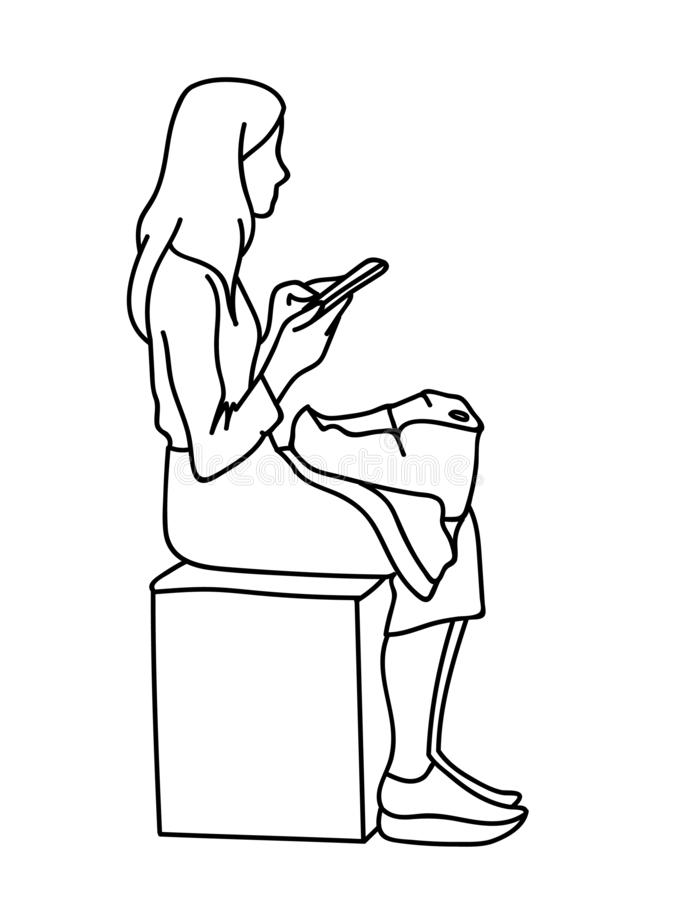 Eine Frau mit dem Rucksack, der auf dem Würfel, Handy betrachtend sitzt Vektorillustration des Mädchens soziale Netzwerke überprü vektor abbildung
