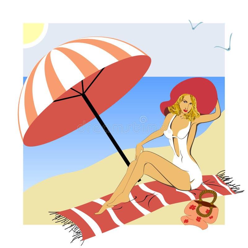 Eine Frau nimmt auf einem Strand ein Sonnenbad lizenzfreie abbildung