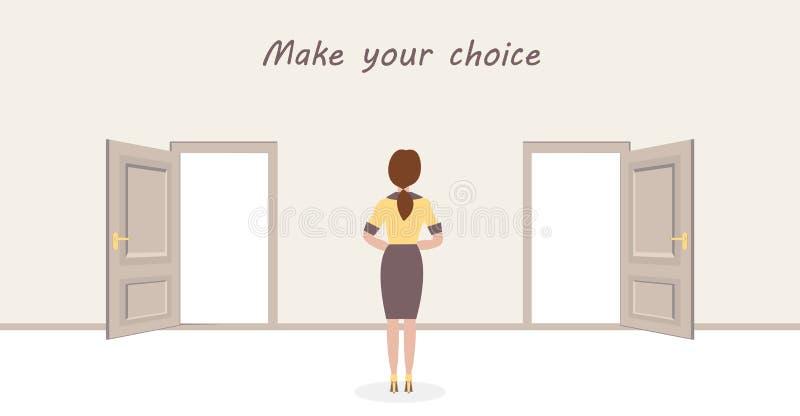 Eine Frau steht vor zwei Türen und hat eine Wahl Zeichen: Treffen Sie Ihre Wahl Vektordesignillustrationen lizenzfreie abbildung