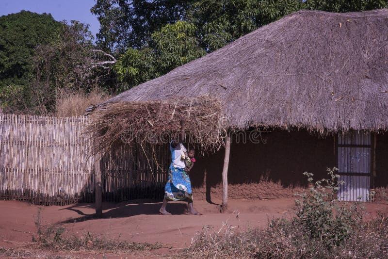Eine Frau trägt ein großes Bündel des Strohs auf dem Kopf und ihres eigenen Babys in ihrem Schoss lizenzfreie stockfotografie