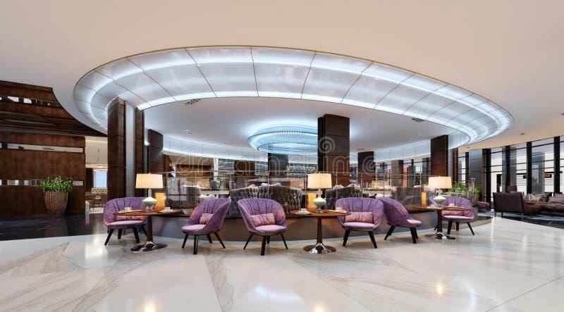 Eine gemütliche Cafeteria in der Lobby mit bequemen gepolsterten Stühlen und in einer Tabelle mit einer Lampe lizenzfreie abbildung
