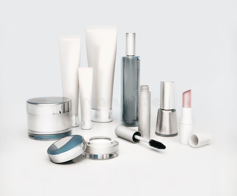Eine Gesichtscreme, runder ein Augen-, Serum- und Lippenbalsam der Hautcreme, lipstic stockfoto