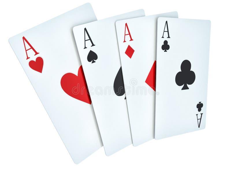 Eine gewinnende Pokerhand von vier Spielkarteklagen der Asse auf Weiß lizenzfreie abbildung