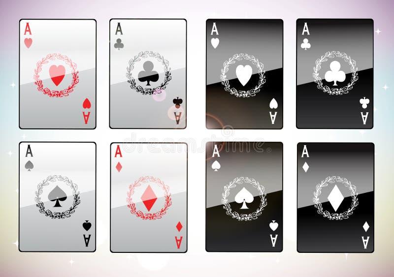 Eine gewinnende Pokerhand von vier Assen vektor abbildung