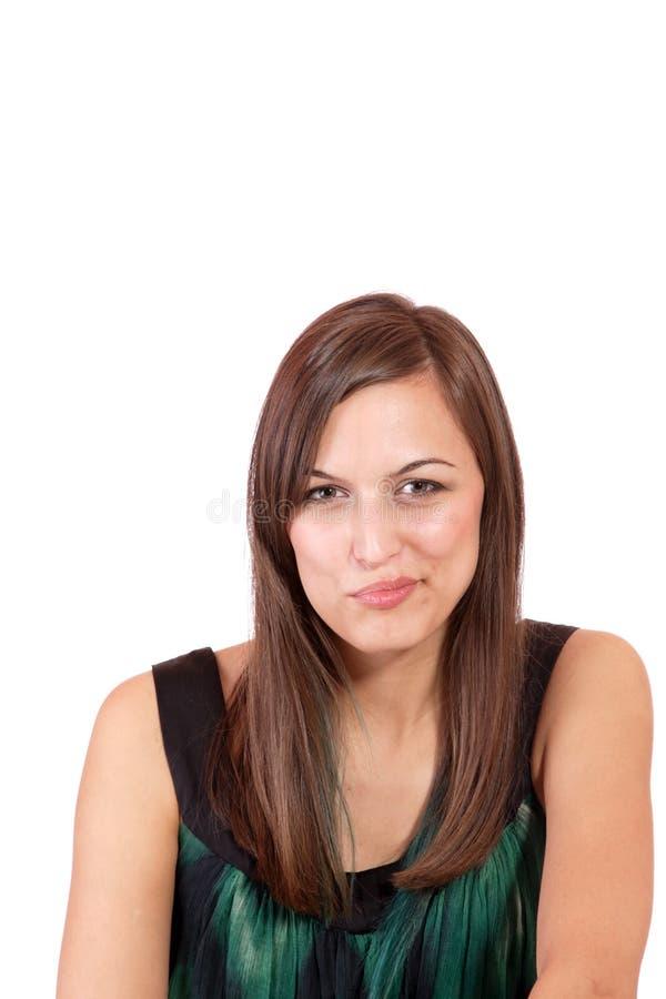 Eine glückliche junge Frau mit Gesichtsausdruck stockfoto