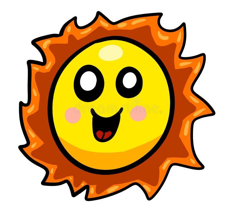 Eine glückliche schauende Karikatur Sun vektor abbildung
