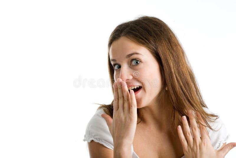 Eine glückliche und überraschte Frau stockfoto