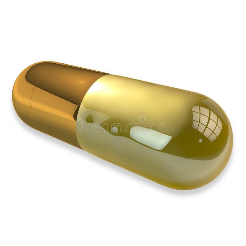 Eine Goldpille auf Weiß lizenzfreie abbildung