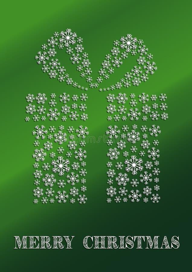 Eine grüne Weihnachtskarte mit einem Geschenk gemacht von den Schneeflocken vektor abbildung