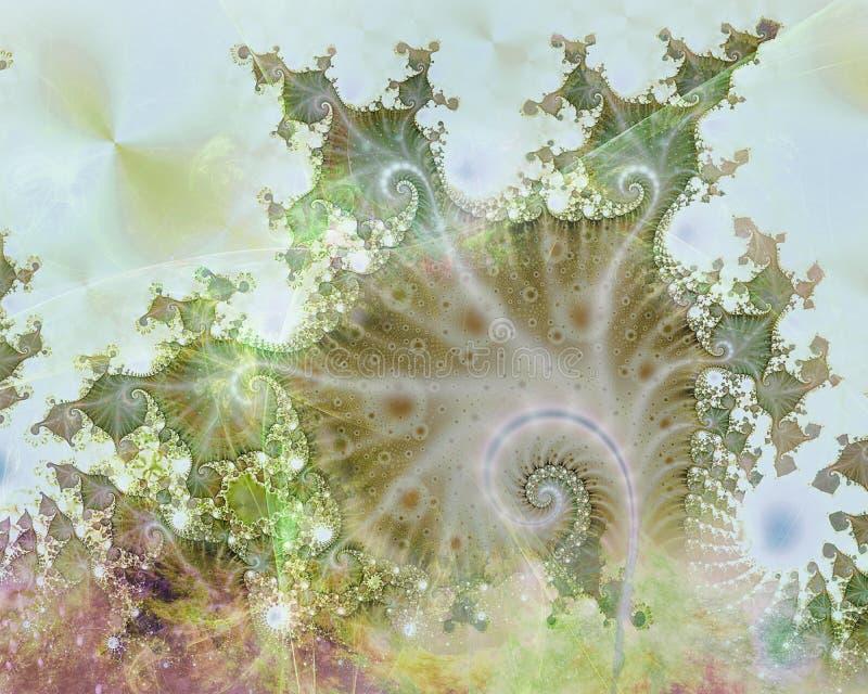 Eine Grünpflanze in der abstrakten Fractal-Welt stockfotos