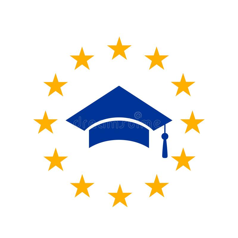 Eine graduierte Kappe mit einer Bürste im Kreis der gelben Sterne der Europäischen Gemeinschaft Konzept des Studierens in Europa, vektor abbildung