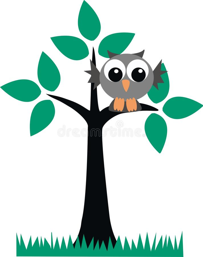 Eine graue Eule, die in einem Baum sitzt lizenzfreie abbildung