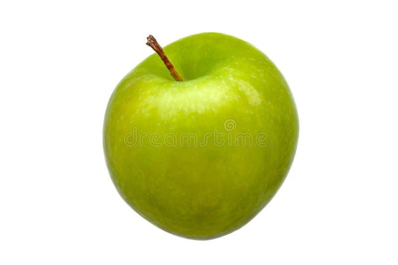 Eine große grüne frische, hellgrüne Apfelnahaufnahme auf einem weißen Hintergrund stockbild