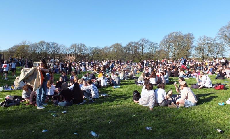 Eine große Gruppe von Personen in Hyde Park Leeds am Protest 420, zum für den Decriminalization des Hanfs in Großbritannien zu kä lizenzfreies stockbild