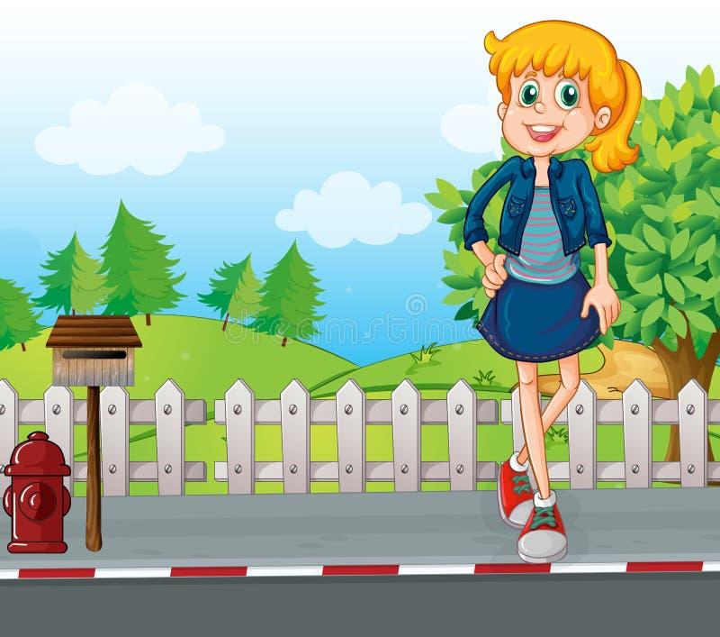 Eine große junge Frau an der Straße, die nahe dem Briefkasten steht vektor abbildung