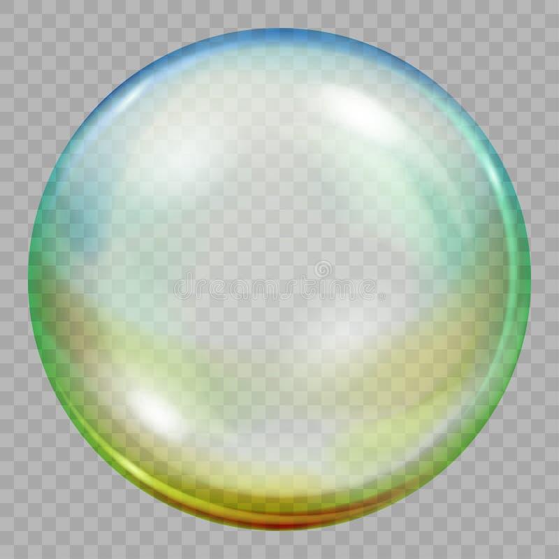 Eine große mehrfarbige transparente Seifenblase lizenzfreie abbildung