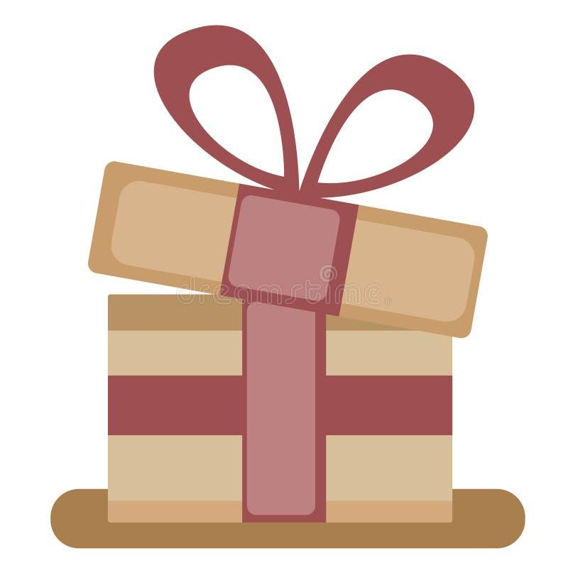 Eine große neues Jahr ` s Geschenkbox mit einem rosa Band, lokalisiert auf einem weißen Hintergrund Auch im corel abgehobenen Bet vektor abbildung
