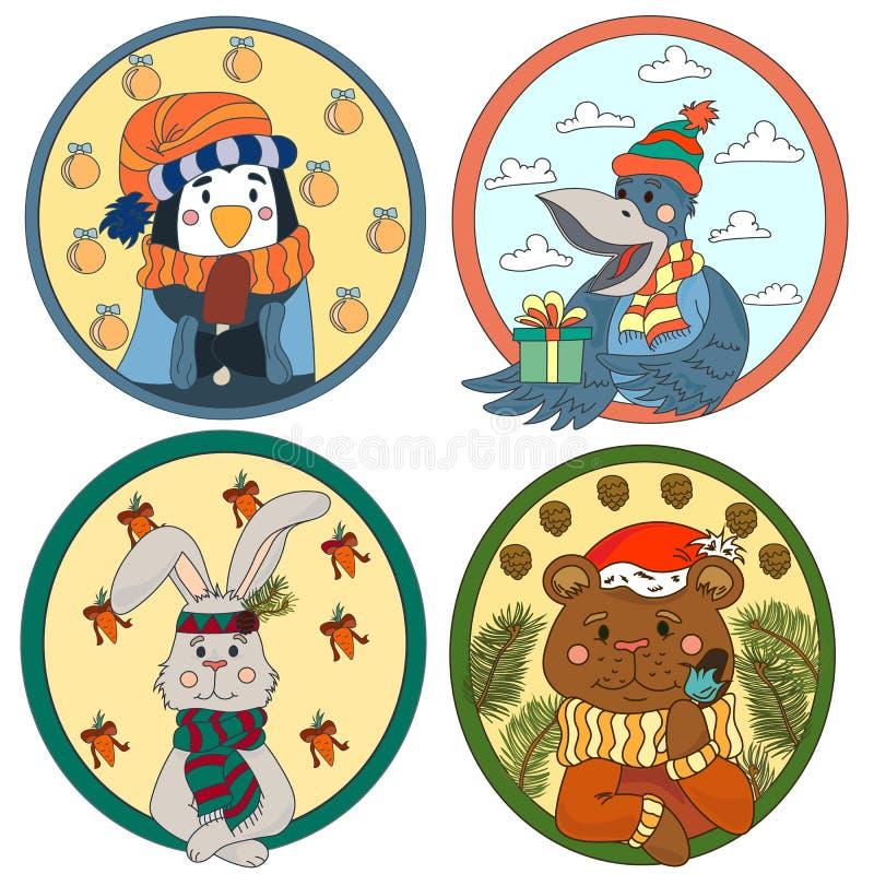 Eine große Sammlung nette Tiere und Vögel auf einem Thema des neuen Jahres stock abbildung