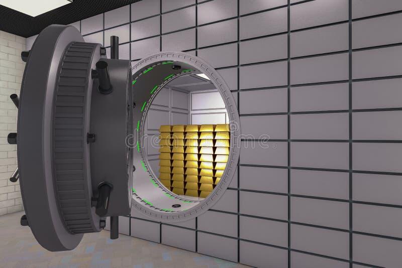Eine große sichere Tür mit Goldbarren lizenzfreie abbildung