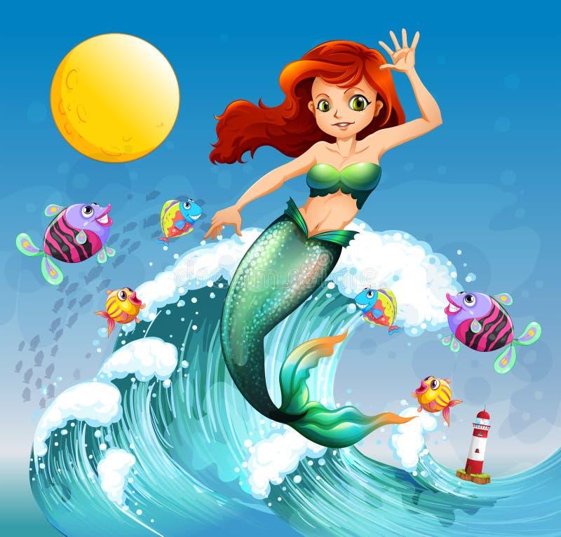 Eine große Welle mit einer Meerjungfrau und eine Schule von Fischen lizenzfreie abbildung