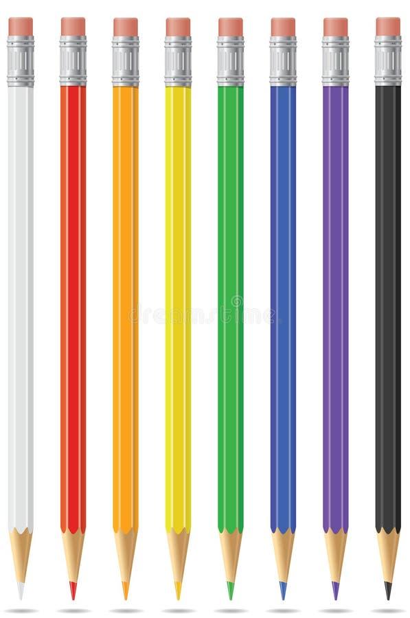 Eine Grundgestalt farbige Bleistifte stock abbildung