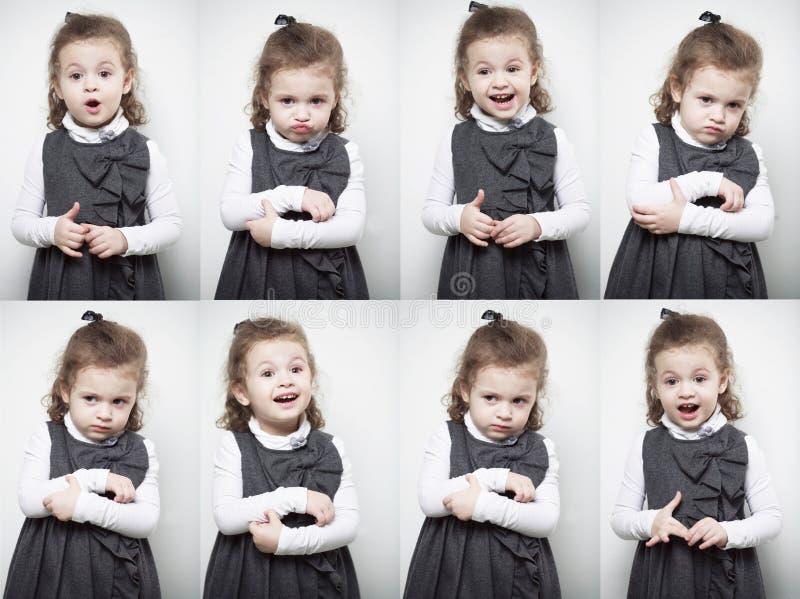 Eine Gruppe Bilder mit den Gefühlen eines kleinen Mädchens lizenzfreie stockfotos