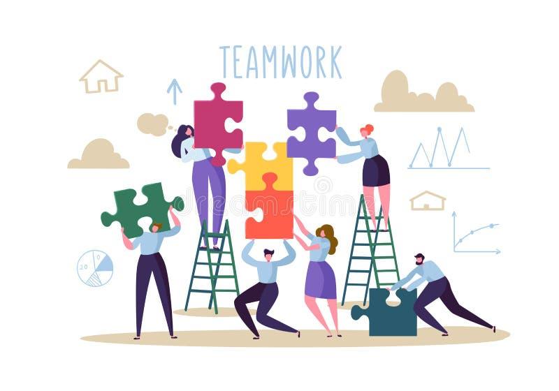 Eine Gruppe, die einen Puzzlespielaufbau aufbaut Flache Leute-Charaktere mit Stücken des Puzzlespiels Partnerschaft, Lösungs-Zusa vektor abbildung