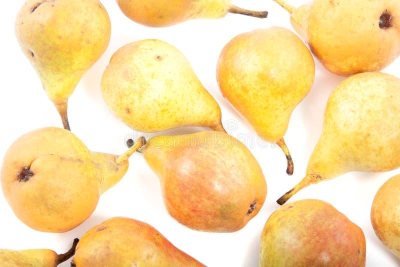 Eine Gruppe gelbe saftige Birnen stockfotografie