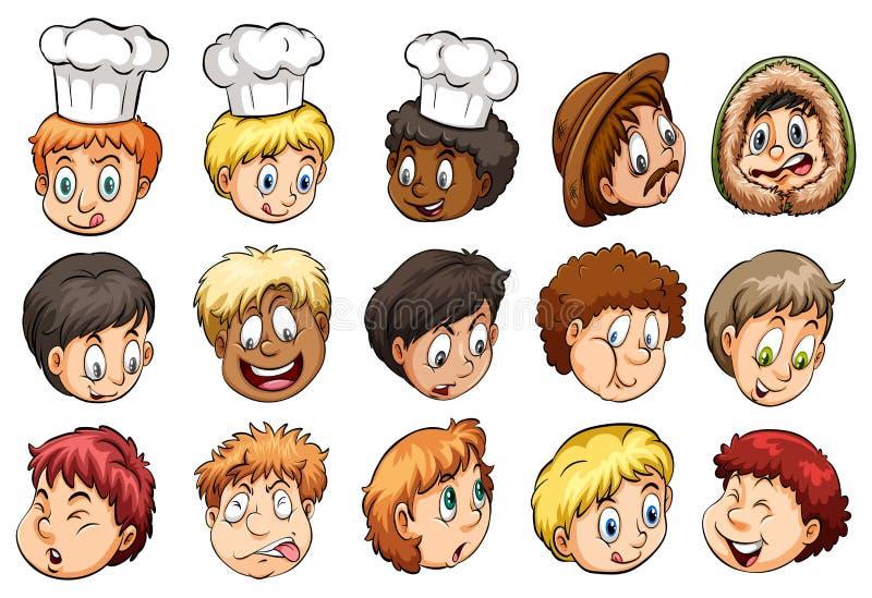 Eine Gruppe Gesichter stock abbildung