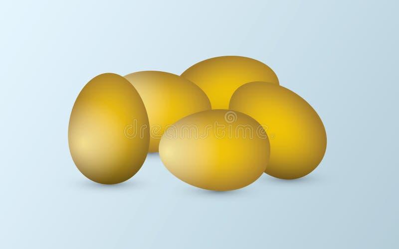 Eine Gruppe goldene natürliche und frische Eier auf dem hellen Hintergrund, zum des Erfolgs im Geschäft darzustellen lizenzfreie abbildung