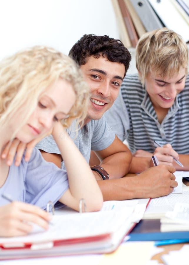 Eine Gruppe Jugendlichen, die zusammen studieren stockbilder
