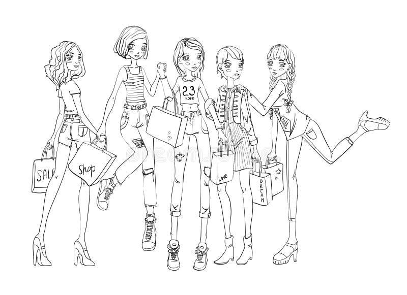 Eine Gruppe Mädchen mit Einkaufstaschen in den Händen Umreißen Sie die Vektorillustration, lokalisiert auf weißem Hintergrund vektor abbildung