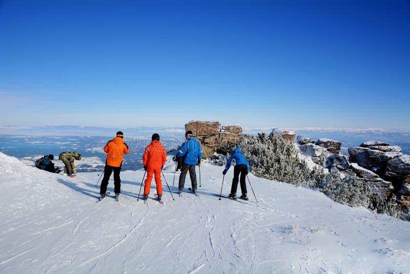 Eine Gruppe Skifahrer auf einer Steigung im Winterberg lizenzfreie stockbilder