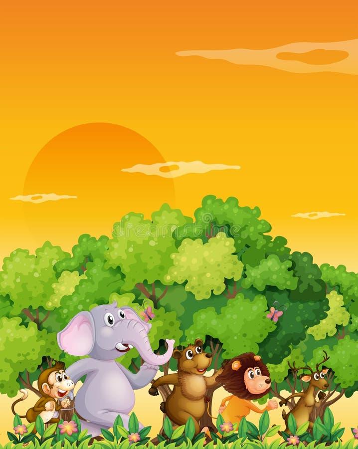 Eine Gruppe Tiere, die am Wald gehen lizenzfreie abbildung