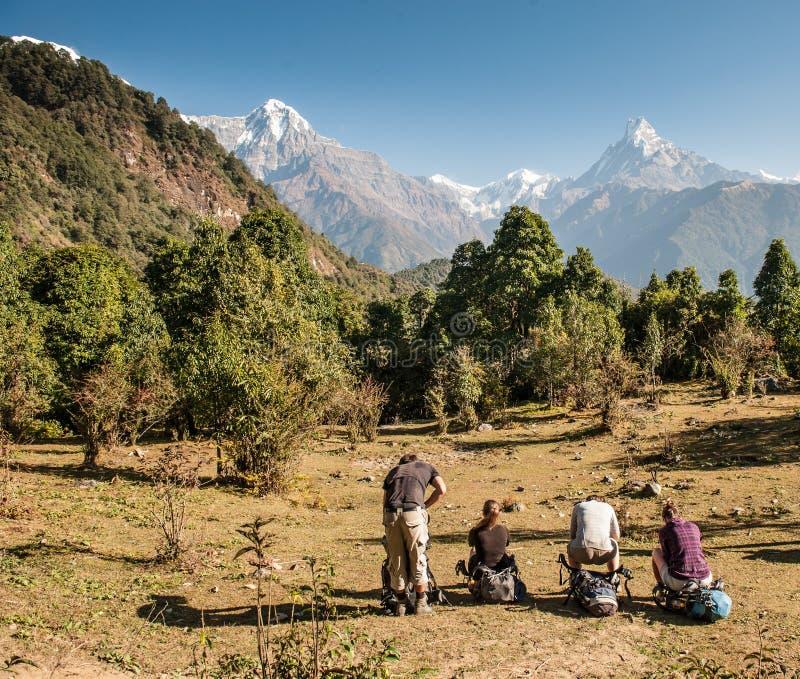 Eine Gruppe Trekkers in aufpassendem Panorama von Berg Machapuchare-Fischschwanz, Poonhill-Stromkreis, Annapurna-Stromkreis Himal stockbild