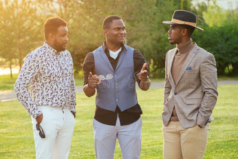 Eine Gruppe von drei schwarzen Männern in stilvollen Anzügen in einem Sommerpark Afroamerikaner und Freunde des panischen Geschäf lizenzfreies stockfoto