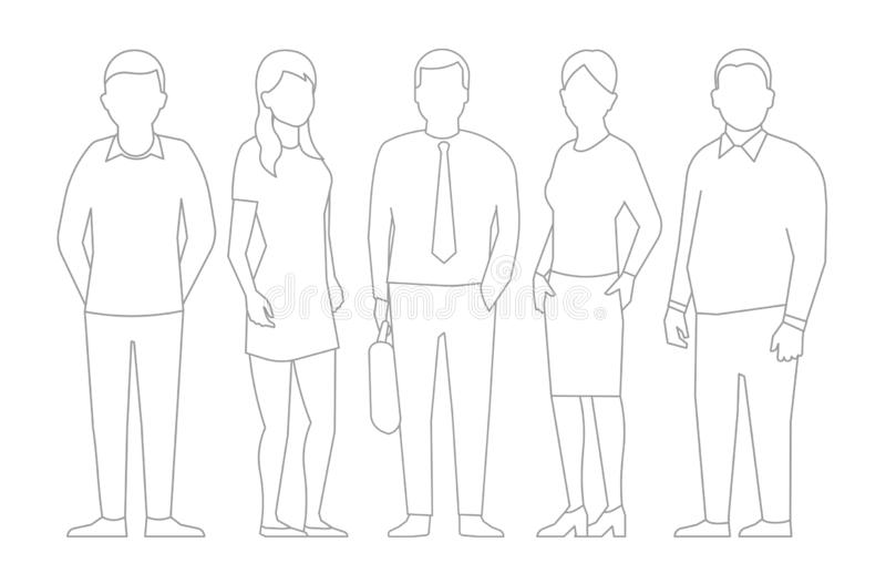 Eine Gruppe von Personen, Arbeitskraftgeschäftsteam Teamwork-Partnerschaft M?nner und Frauen Entwurfstiefenlinie-Vektorillustrati vektor abbildung