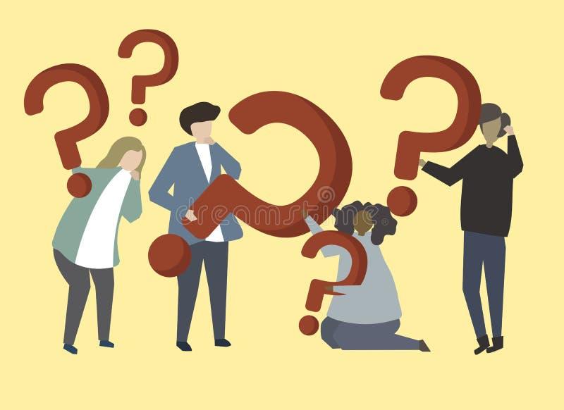 Eine Gruppe von Personenen-Holding-Fragezeichen-Zeichenillustration lizenzfreie abbildung
