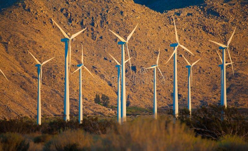 Download Eine Gruppe Windturbinen Im Nachtisch Stockfoto - Bild von generator, technologie: 26366852
