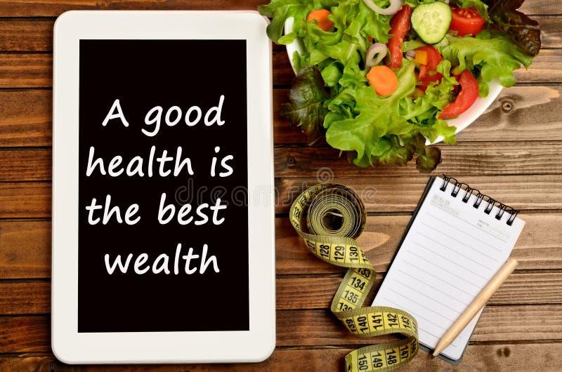 Eine gute Gesundheit ist der beste Reichtum stockbilder