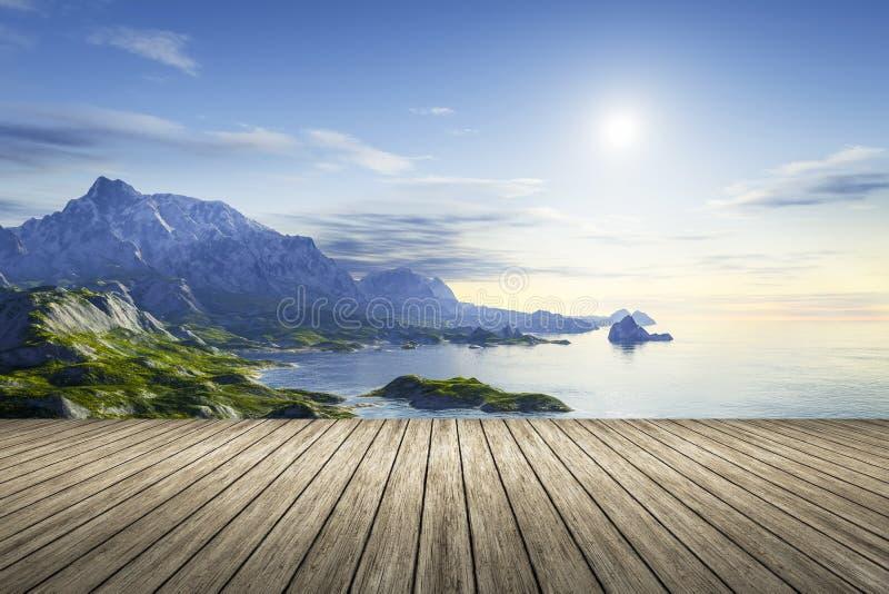 Eine hölzerne Anlegestelle mit einer schönen Landschaft lizenzfreie abbildung