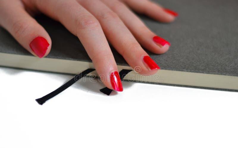 Eine Hand auf dem Buch stockbild