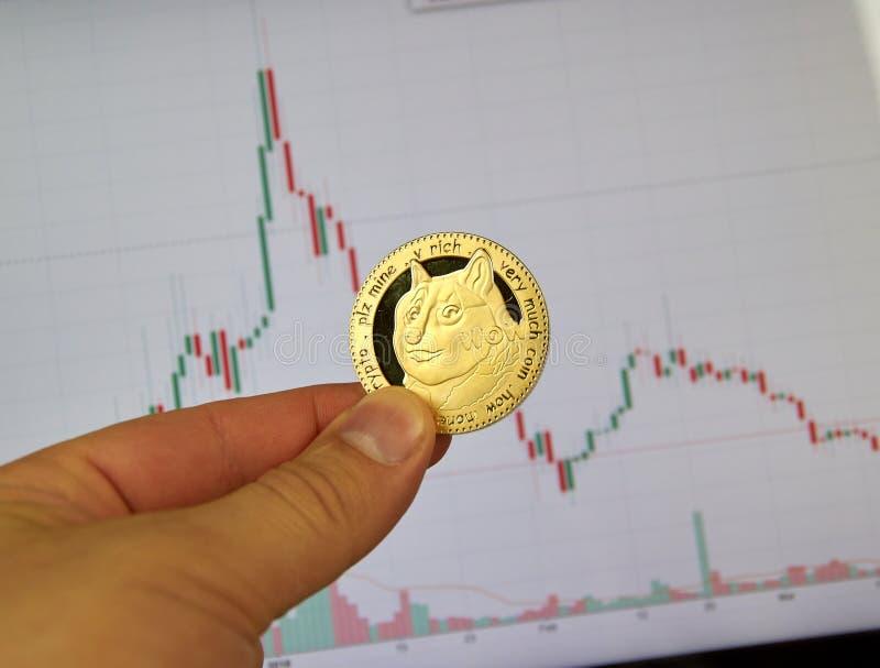 Eine Hand, die Dogecoin-DOGEschlüsselwährungsmünze hält stockfotos
