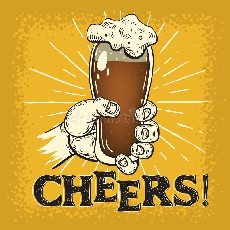 Eine Hand, die ein Pint-Glas dunkles Bier-Weinlese beeinflußtes Plakat-Design hält Beifall-Schlagzeile Künstlerische Hand gezeich stock abbildung