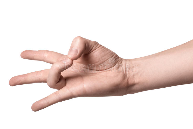 Eine Hand, die ein Zeichen, lokalisiert auf weißem Hintergrund zeigt stockfotografie