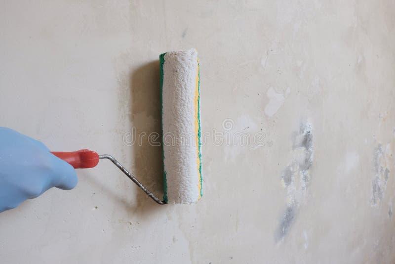 Eine Hand in einem blauen Handschuh h?lt eine Rolle f?r Fertigungsarbeit Der Prozess der Vorbereitung der wei?en Wand Das Konzept stockfoto