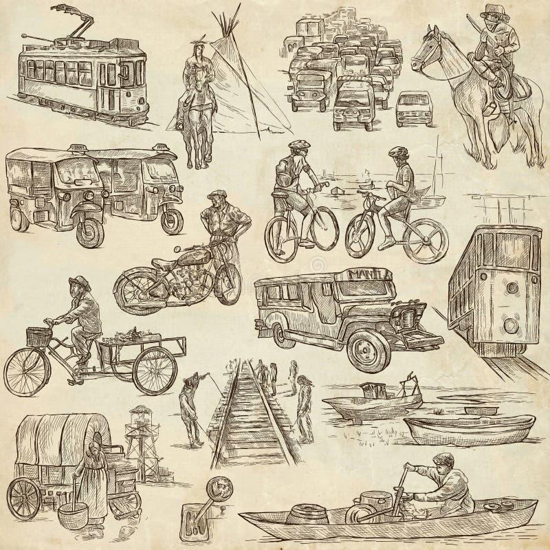 Eine Hand gezeichnet, Freihandzeichnenzeichnung, Sammlung - Transport lizenzfreie abbildung