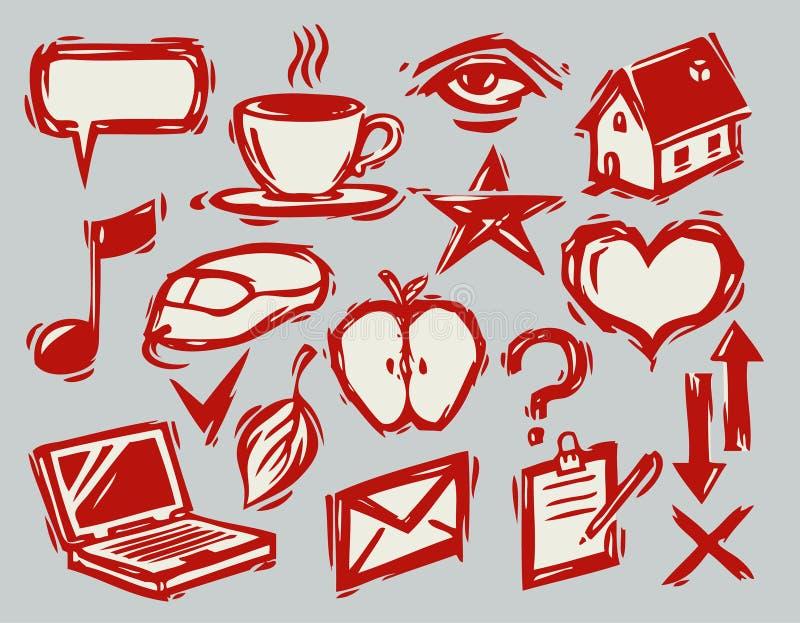 Download Eine Hand Gezeichnete Ikonen Vektor Abbildung - Illustration von musik, kaffee: 12203530