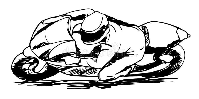 Eine Hand gezeichnete Skizze des Sportmotorradfahrers lizenzfreie abbildung